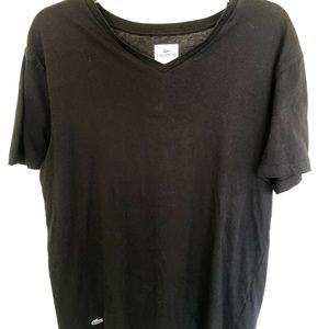 Lacoste black v-neck tee. Men's size L.